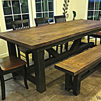 Modern Barnwood Harvest Table with Bench