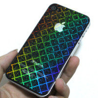 Bestgoods — Shiny Laser grid  Front And Back Sticker For Iphone 4/4s