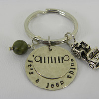 Jeep grill keychain hand stamped silver with jeep charm and green stone bead It's a Jeep thing