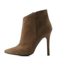 Khaki High Heel Pointed Toe Ankle Booties by Charlotte Russe