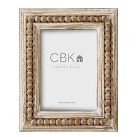 Whitewash Beaded 4x6 Frame