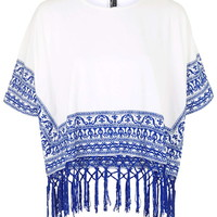 Embroidered Cape Top - Topshop