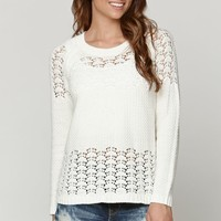LA Hearts Pointelle Stitch Pullover Sweater - Womens Sweater - White