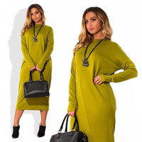 Winter Dresses 2016 Fashion Elegant Plus Size Women Clothing Casual Long Sleeve O-Neck Solid Dress Vestidos Work Office Dress