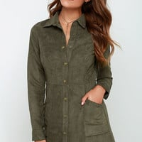 Day of Delight Olive Green Long Sleeve Suede Dress