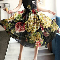 Flower Printed Scoop Neck High Waisted Chiffon Midi Dress