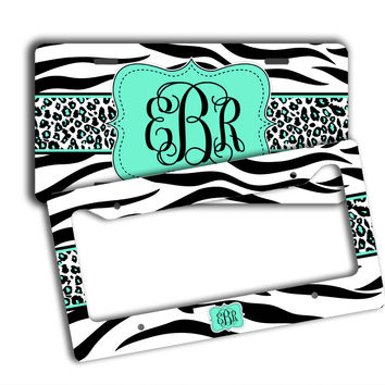 TIGER STRIPE WITH CHEETAH - MONOGRAMMED LICENSE PLATE
