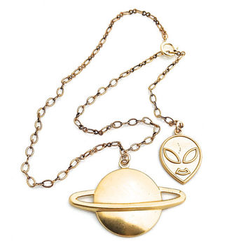 Alien Jewelry, Gold Ankle Bracelet, Anklets for Women, Paranormal, Saturn Ring, Planet Jewelry, Outer Space