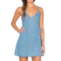 MINKPINK Rodeo League Wrap Dress in Washed Blue