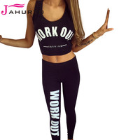 Jahurto Women Sport Suit WORK OUT FASHION Printed Two Piece Outfit Crop Low Cut Top Skinny Long Pant Fitness Jogging Gym Set