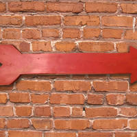 "Red distressed painted wooden arrow.  Approx. 24""x6""x.3/4"".  Handmade"