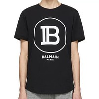 Balman New fashion letter print  couple top t-shirt Black