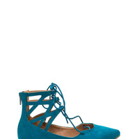 Point It Out Laced Faux Suede Flats
