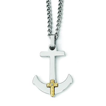 Stainless Steel Polished w/14k Gold Diamond Anchor Mariner Cross Necklace SRN1949