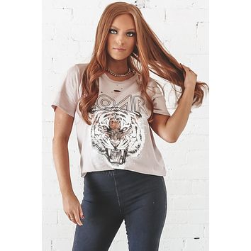 ROAR Tiger Distressed Champagne Rose Graphic Top