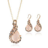 Gold Color Peacock Design Jewelry Set