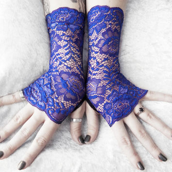 Geronimo Lace Fingerless Gloves - Royal Cobalt Blue Floral - Wedding Bridal Bridesmaid Mittens Gothic Lolita Dark Cosplay Burlesque Bohemian