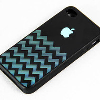 Teal Chevron with Apple Logo iPhone 4 iPhone 4S Case, Rubber Material Full Protection