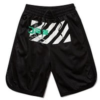 Off Whitre New fashion letter stripe print couple shorts Black