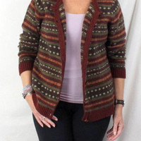Orvis Sweater L size Brown Earthy Tones Leather Button Womens Wool Cardigan Soft