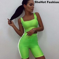 Women Casual Two Piece Neon Reflective Striped Tank Crop Top Biker Short Set