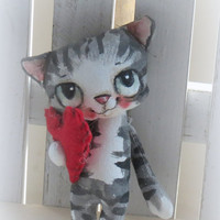 Hand painted  hand made kitty cat doll with heart