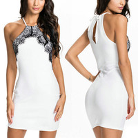 Sexy Women Floral Halter Ball Club Party Gowns Evening Short Mini Dress White