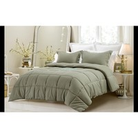 3PC REVERSIBLE SOLID/ EMBOSS STRIPED COMFORTER SET- OVERSIZED AND OVERFILLED ( 2 BEDDING LOOKS IN 1) - SAGE