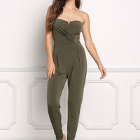 Olive Ruched & Pleated Strapless Jumpsuit