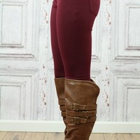 Wine 5 Pocket Stretch Skinny Pants