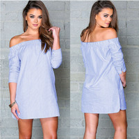 Light Blue Off Shoulder Striped Mini Dress