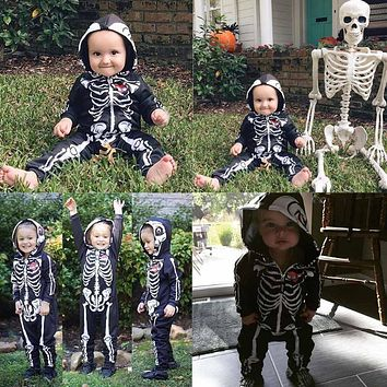 Cool Baby Skull Skeleton Romper Kids Long Sleeve Cotton Jumpsuit born Halloween Party Costumes Infant Clothing Baby Clothes