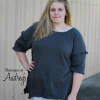 Umgee Charcoal Gray Tunic Top with Fray Detail in Plus Size