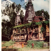 1934 Color Print Temple Seven Peaks Architecture Buddha Chiengmai Thailand NGMA6