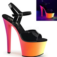 Fashion Online Ankle Strap Sandal-neon Platform And 7 Inch Heels-stripper Shoes