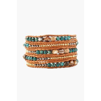 Chan Luu Compressed Turquoise Mix Wrap Bracelet On Brown Leather