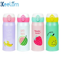 Keelorn Water Bottle 2017 New Fruit Pattern Thermocup Stainless Steel Thermos Bottle 350ML 500ML Outdoor Vacuum Cup Water Bottle