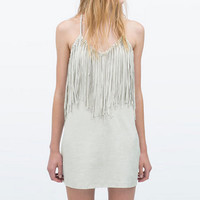 Faux Suede Halter Fringed Shift Mini Dress