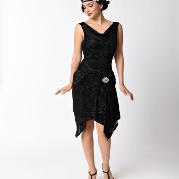Unique Vintage 1930s Style Black Deco Burnout Velvet Velma Flapper Dress