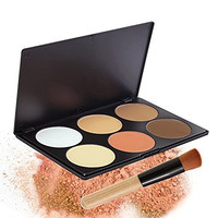 FiveBull Professional 6 Warm Color Cosmetic Foundation Concealer Camouflage Contour Makeup Palette Set Face Contouring Kit with Makeup Brushes (6 Color)