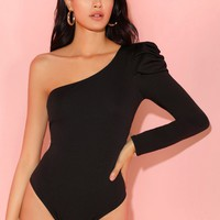 One Shoulder Puff Sleeve Fitted Bodysuit