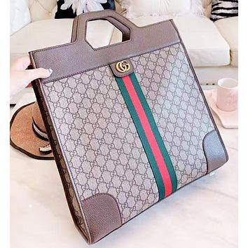 Vsgirlss GUCCI Fashion New Stripe More Letter Leather Shopping Leisure Women Men Handbag