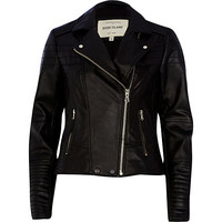 River Island Womens Black quilted panel leather biker jacket