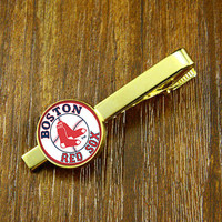 Tie Clips- Gold MLB  team Boston Red Sox    logo   tie clips, Mens Tie Clip,Fathers Day Tie Clip,Wedding Tie Clips,