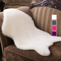 Hairy Carpet Sheepskin Chair Cover Soft Bedroom Faux Mat Seat Pad Plain Skin Fur Fluffy Area Rugs Washable Artificial Textile