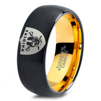 Oakland Raiders Ring Mens Fanatic NFL Sports Football Boys Girls Womens NFL Jewelry Fathers Day Gift Tungsten Carbide 231-Y