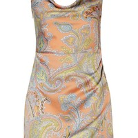 Kat Floral Satin Cowl Neck Wrap Dress | Boohoo