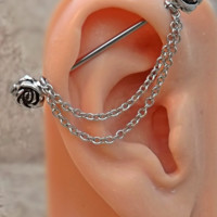 Rose Industrial Barbell Rose Center 14ga Body Jewelry Ear Jewelry Double Piercing With Chains