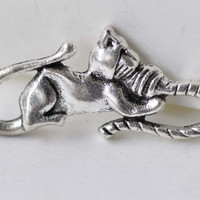 Cat Connector Wool Ball Charms Antique Silver Finish 12x27mm Set of 10 A7910