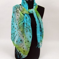 Hombre Color Scarf Green Blue | Affordable Costume Jewelry, Scarves | Purple Box Jewelry